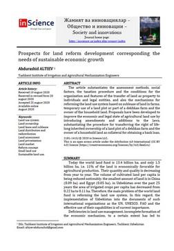 Abdurashid ALTIEV  - Prospects for land reform development corresponding the needs of sustainable economic growth