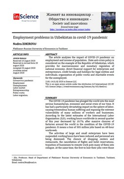 Nodira ZOKIROVA - Employment problems in Uzbekistan in covid-19 pandemic