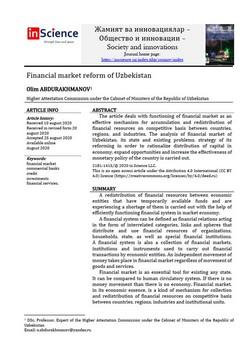3.Olim ABDURAKHMANOV - Financial market reform of Uzbekistan